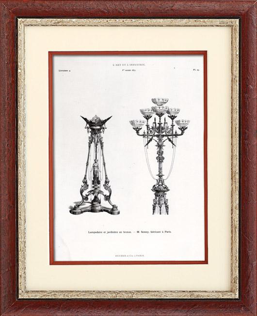 Gravures Anciennes & Dessins   Lampadaire et Jardinière en Bronze - M. Semey (Paris)   Typogravure   1877