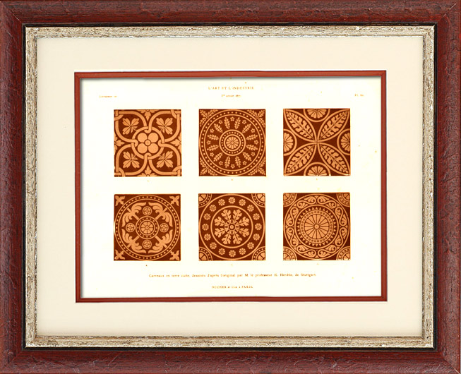 Antique Prints & Drawings   Terra Cotta Tiles - E. Herdtle (Stuttgart)   Typogravure   1877