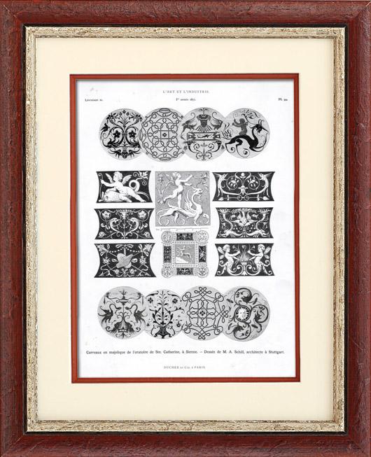 alte stiche fliesen aus majolika typogravure 1877. Black Bedroom Furniture Sets. Home Design Ideas