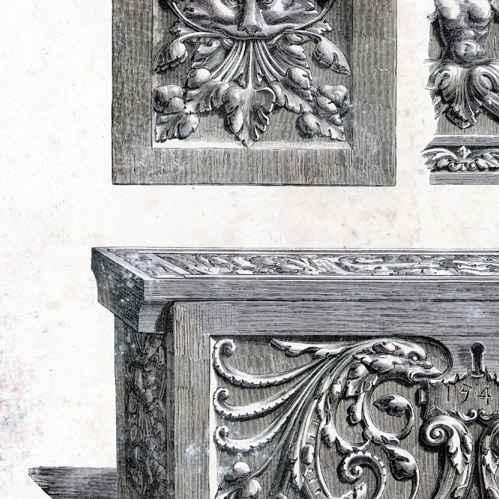 antique prints oak antique furniture 1540 berlin typogravure 1877. Black Bedroom Furniture Sets. Home Design Ideas