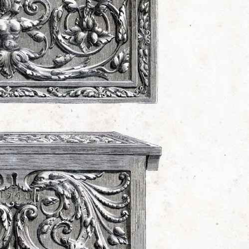 alte stiche eiche antike m bel 1540 berlin typogravure 1877. Black Bedroom Furniture Sets. Home Design Ideas