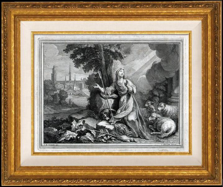 Antique Prints & Drawings   Sancta Genovefa - Sainte Genevieve - Patron Saint of Paris in Roman Catholic and Eastern Orthodox Tradition   Copper engraving   1730