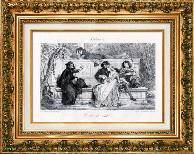 Gravures Anciennes & Dessins   Le Poète Florentin (Alexandre Cabanel)   Gravure à l'eau-forte   1884