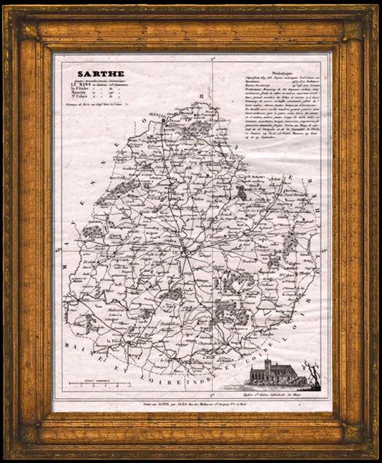 Gravures Anciennes & Dessins | Carte du Département de la Sarthe - Le Mans - Pays de la Loire (France) | Taille-douce | 1845