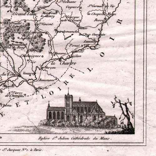 antika tryck karta av franskt departement sarthe le mans pays de la loire frankrike. Black Bedroom Furniture Sets. Home Design Ideas