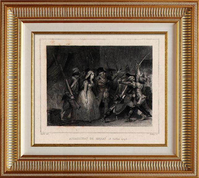 Gravures Anciennes & Dessins | Révolution française - Assassinat de Marat par Charlotte Corday (13 juillet 1793) | Taille-douce | 1834