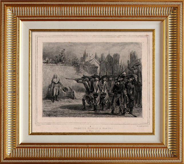 Gravures Anciennes & Dessins | Révolution française - Charette Fusillé à Nantes (29 mars 1796) - Guerre de Vendée - Vendée Militaire - Cathelineau - Exécution - Nantes | Taille-douce | 1834