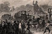 Alter stich - Französischen Revolution - Girondisten Hinrichtung (30 Oktober 1793) - Revolutionstribunal - Handwagen - Sanson - Guillotine