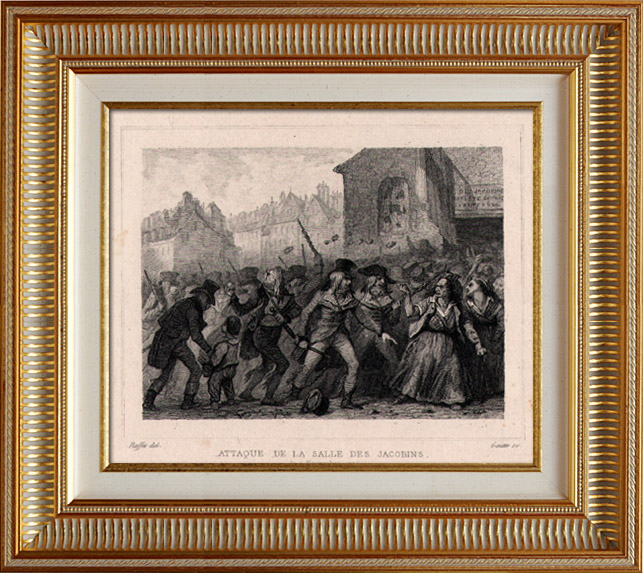Antique Prints & Drawings   French Revolution - Assault of the Jacobins Club by Muscadins (November 9th 1794) - Fréron and Tallien   Intaglio print   1834