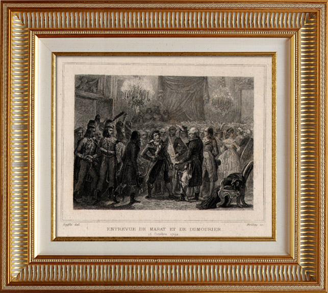 Gravures Anciennes & Dessins   Révolution française - Entrevue de Marat et de Dumouriez (16 octobre 1792) -  Bourbotte Député   Taille-douce   1834