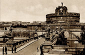 View of Rome - Italy - Ponte Sant'Angelo and Castel Sant'Angelo - Castle Saint Angelo - The Mausoleum of Hadrian - Near the Vatican City