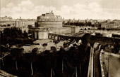 View of Rome - Italy - Castel Sant'Angelo and the Pentagonal Wall - Castle Saint Angelo - The Mausoleum of Hadrian - Near the Vatican City