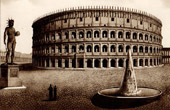 View of Rome - Italy - Flavian Amphitheater - The Colosseum or Roman Coliseum - Meta Sudans - Colossus of Nero