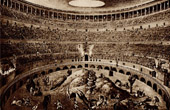 View of Rome - Italy - Roman Circus - Gladiatorial Fights - Hunting - Flavian Amphitheater - The Colosseum or Roman Coliseum