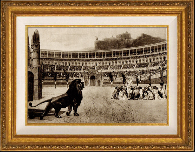 Antique Prints & Drawings | View of Rome - Italy - Circus Maximus - Roman Circus - Last Prayers of the Christians Thrown to the Lions | Heliogravure | 1936