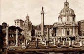 View of Rome - Italy - Trajan's Forum - Basilica Ulpia and Trajan's Column
