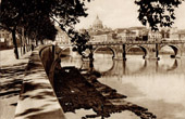 View of Rome - Italy - Tiber - Ponte Sant'Angelo - Dome of the Basilica of Saint Peter - St. Peter's Basilica - Vatican City