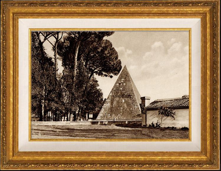 Gravures Anciennes & Dessins | Vue de Rome - Italie - La Pyramide de Caius Cestius | Héliogravure | 1936