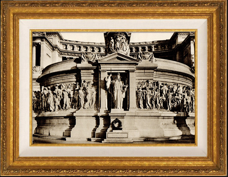 Antique Prints & Drawings   View of Rome - Italy - National Monument of Victor Emmanuel II - Altare della Patria - Tomb of the Unknown Soldier and the Goddess Roma - Piazza Venezia   Heliogravure   1936