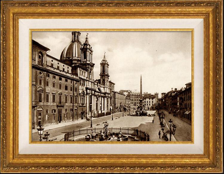 Gravures Anciennes & Dessins   Vue de Rome - Italie - Cirque Agonale - Circo Agonale - Fontaine des Quatre-Fleuves - Piazza Navona   Héliogravure   1936