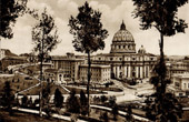 View of Rome - Italy - Basilica of Saint Peter seen from the Gardens - St. Peter's Basilica - Vatican Palaces