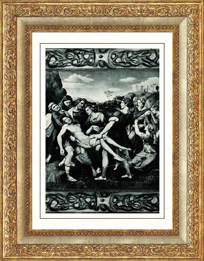 Gravures Anciennes & Dessins   Galerie Borghèse - Jésus Christ - La Déposition de Croix - La Descente de Croix (Raphaël - Raffaello Sanzio)   Héliogravure   1936