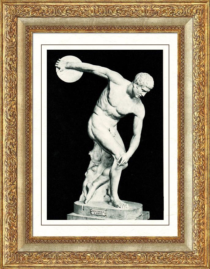 Stampe Antiche & Disegni | Musei Vaticani - Sala della Biga - Scultura Greca - Grecia Antica - Discobolo di Mirone | Heliogravure | 1936