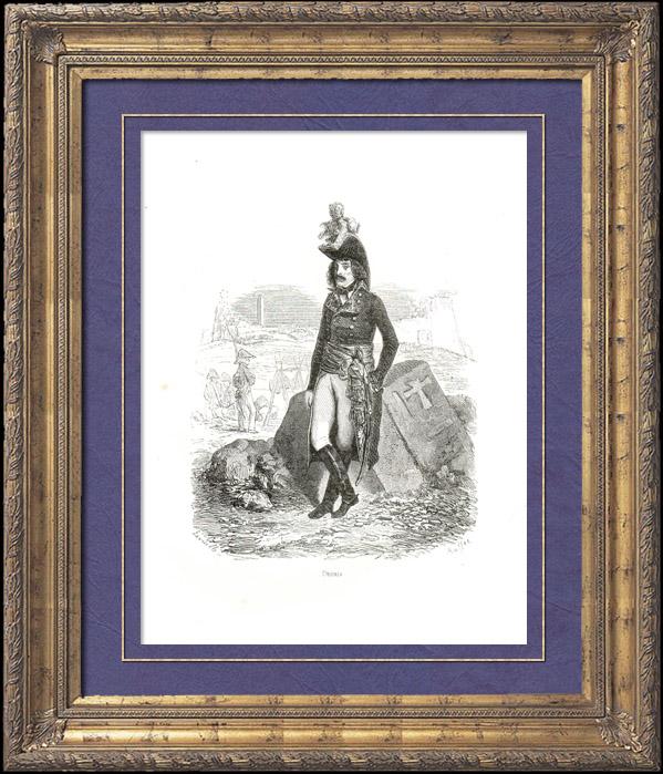 Gravures Anciennes & Dessins | Histoire de Napoléon Bonaparte - Portrait de Desaix (1768-1800) - Campagne d'Égypte - Armée d'Italie - Mort Bataille de  Marengo | Gravure sur bois | 1839