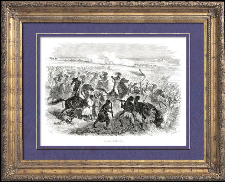 Stampe Antiche & Disegni | Storia di Napoleone Bonaparte - Guerre Napoleoniche - La Battaglia di Abukir - La Battaglia del Nilo - Egitto (1798) | Incisione xilografica | 1839