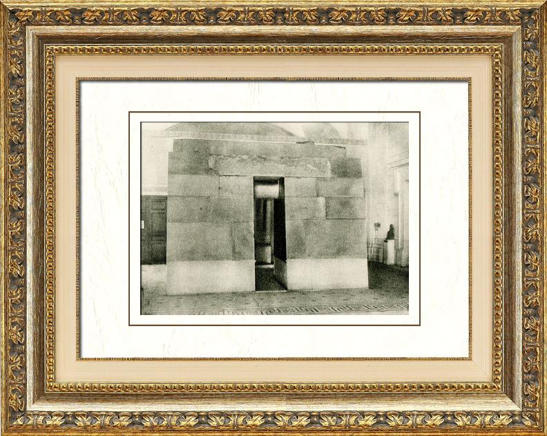Gravures Anciennes & Dessins | Egypte Antique - Egyptologie - Chapelle Funéraire du Mastaba d'Akhouthotep (Musée du Louvre) | Héliogravure | 1920