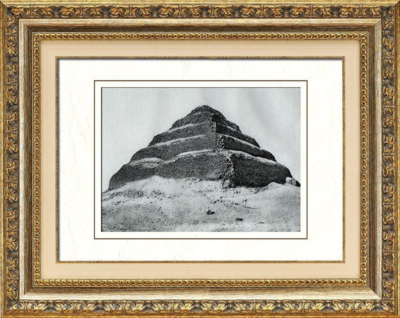 Gravures Anciennes & Dessins | Egypte Antique - Egyptologie - Nécropole - La Pyramide à Degrés de Djéser à Saqqarah - Sakkarah | Héliogravure | 1920