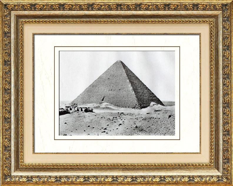 Gravures Anciennes & Dessins   Egypte Antique - Egyptologie - Nécropole - La Grande Pyramide de Gizeh - Pyramide de Khéops   Héliogravure   1920