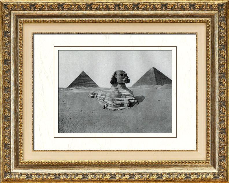 Gravures Anciennes & Dessins | Egypte Antique - Egyptologie - Nécropole - Le Grand Sphinx de Gizeh - Pyramide de Khéops - Pyramide de Khéphren | Héliogravure | 1920