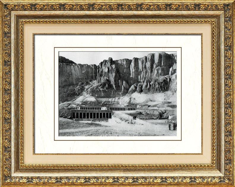 Gravures Anciennes & Dessins | Egypte Antique - Egyptologie - Nécropole - Temple Funéraire de la Reine Hatchepsout à Deir el-Bahari | Héliogravure | 1920
