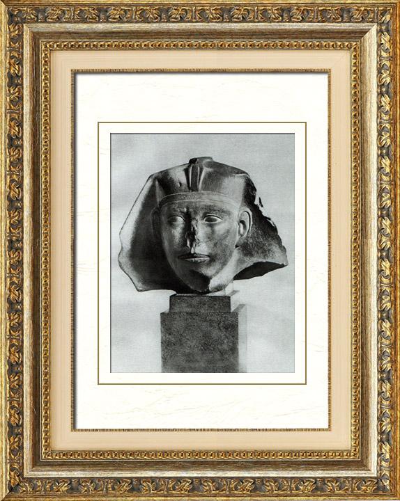 Gravures Anciennes & Dessins   Egypte Antique - Egyptologie - L'Art Egyptien - Tête d'un Sphinx de Djedefrê (Djidoufrâ - Didoufri)   Héliogravure   1920
