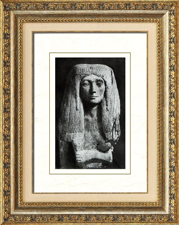 Gravures Anciennes & Dessins   Egypte Antique - Egyptologie - L'Art Egyptien - Sculpture - Statue - Buste de Femme   Héliogravure   1920