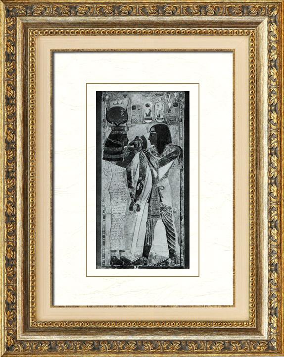 Gravures Anciennes & Dessins | Egypte Antique - Egyptologie - Nécropole - Hiéroglyphes - Bas-Reliefs de Séthi Ier et Hathor dans le Temple Funéraire du Roi Séthi Ier à Abydos | Héliogravure | 1920