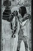 Altes Ägypten - Ägyptologie - Nekropole - Hieroglyphen - Flachreliefs mit Sethos I und Hathor im Totentempel des Sethos I in Abydos