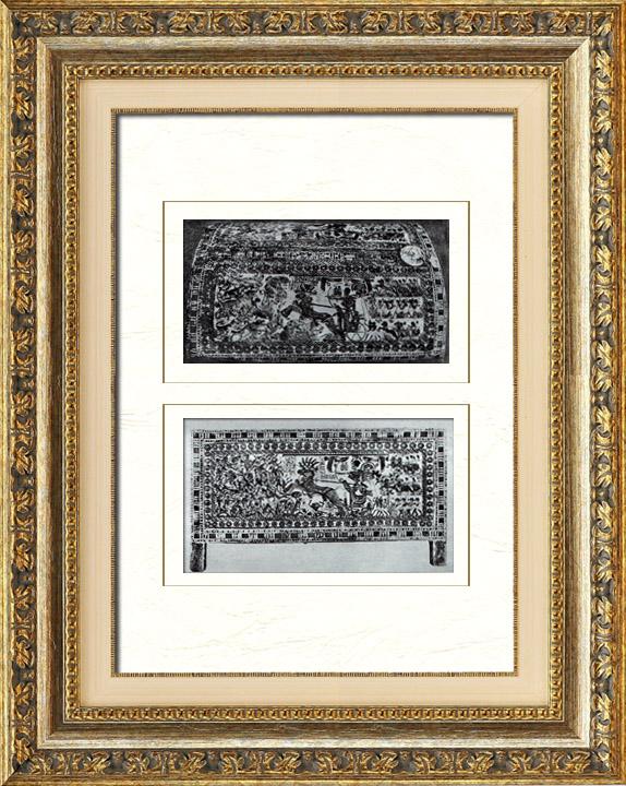 Gravures Anciennes & Dessins   Egypte Antique - Egyptologie - L'Art Egyptien - Meubles Anciens - Coffrets - Tombeau de Toutânkhamon (Vallée des Rois)   Héliogravure   1920