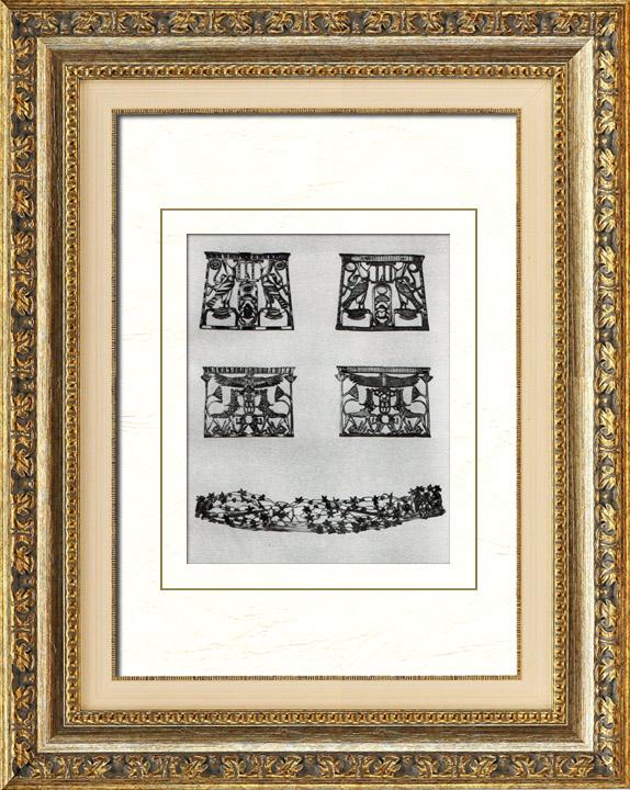 Gravures Anciennes & Dessins   Egypte Antique - Egyptologie - L'Art Egyptien - Bijoux Anciens - Couronne - Senusret III - Sesostris II - Netjerkeperu - Seshemtawy - Khnoumit   Héliogravure   1920