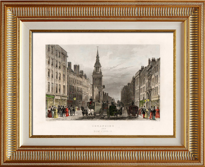 Gravures Anciennes & Dessins | Vue de Londres - Angleterre - Eglise St Mary-le-Bow - Cheapside and Bow Church (Royaume-Uni) | Taille-douce | 1837