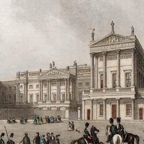 gravures anciennes vue de londres angleterre buckingham palace royaume uni gravure en. Black Bedroom Furniture Sets. Home Design Ideas