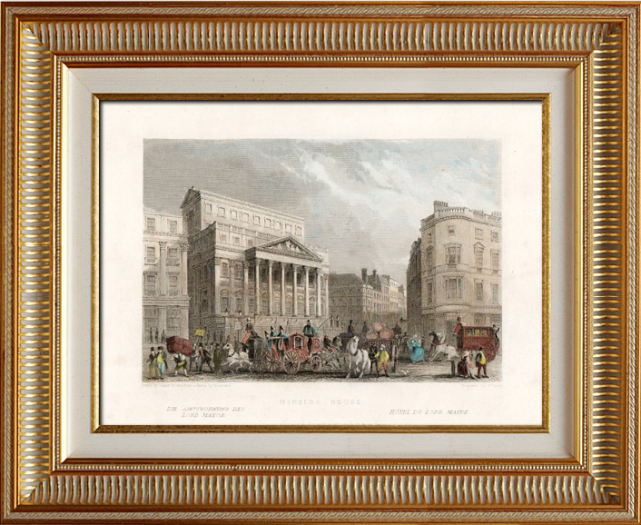 Antique Prints & Drawings | View of London - England - Mansion House (United Kingdom ) | Intaglio print | 1837