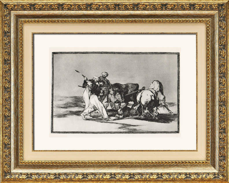 Gravures Anciennes & Dessins | La Tauromachie - Corrida en Espagne - Torero Maure à Cheval  (Francisco de Goya y Lucientes) | Héliogravure | 1963
