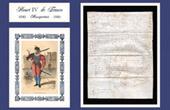 Historisches Dokument auf Pergament - Herrschaft von Heinrich IV von Frankreich - 1590 - Die Hugenottenkriege - Musketier und Arkebuse