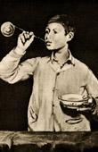 Grabado antiguo - Las Burbujas de Jabón - Les Bulles de Savon (Edouard Manet)