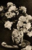 Antique print - Peonies - Still life - Pivoines - Nature morte (Edouard Manet)