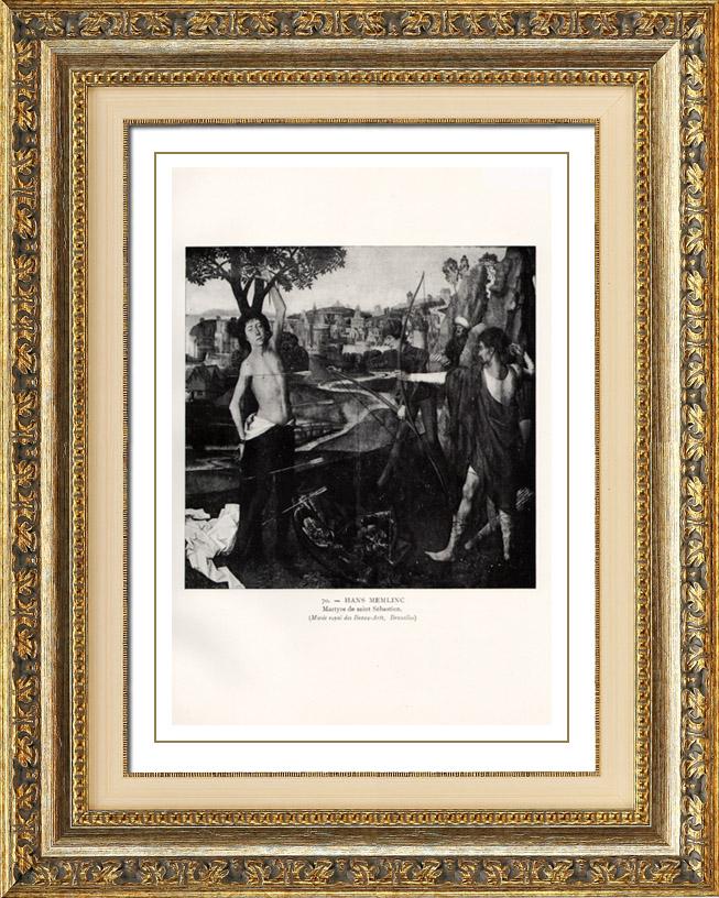 Antique Prints & Drawings   Triptych - The Mystical Wedding of St Catherine - Decapitation of St John - Saint John the Evangelist on Patmos (Hans Memling or Memlinc)   Heliogravure   1910
