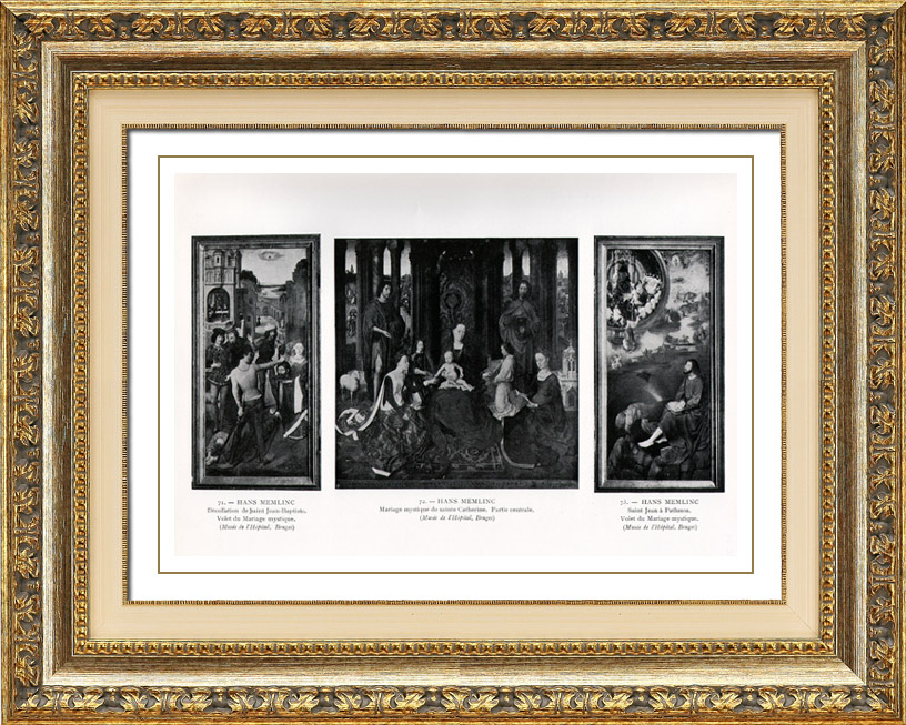 Antique Prints & Drawings   Exterior shutters of Triptych - The Mystical Wedding (Hans Memling or Memlinc)   Heliogravure   1910