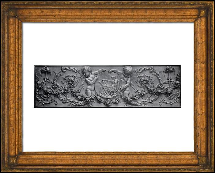 Gravures Anciennes & Dessins | Décoration d'un Dessus de Porte - Bois Sculpté - Frise - Médaillon - Rinceaux - Epoque Louis XVI | Phototypie | 1894